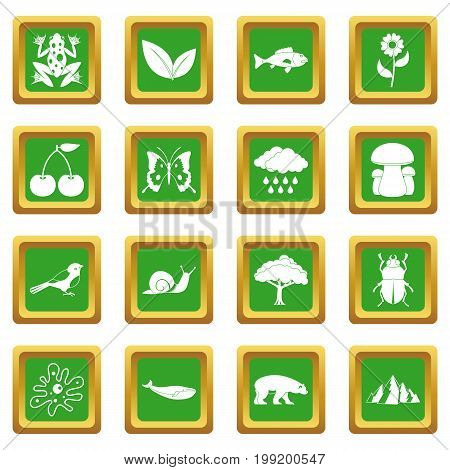 Oil industry items icons set in green color isolated vector illustration for web and any design