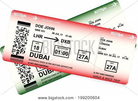 Vector template of boarding pass tickets. Concept of trip or travel