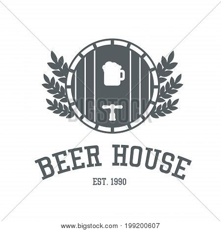 Beer House Logo Design In Monochrome Colors. Bar Or Pub Label Template With Ale Barrel And Wheat. Sn