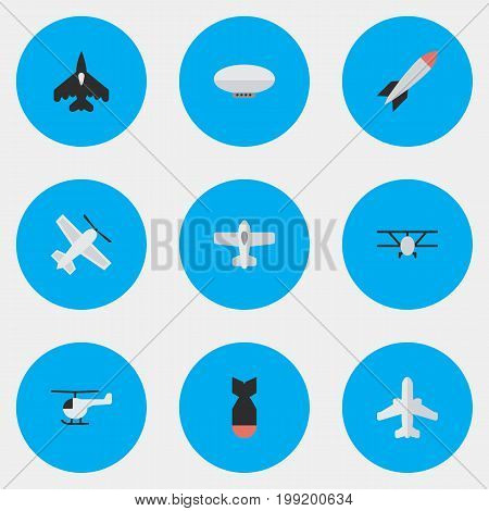 Elements Plane, Airliner, Bomb And Other Synonyms Chopper, Airship And Balloons.  Vector Illustration Set Of Simple Plane Icons.