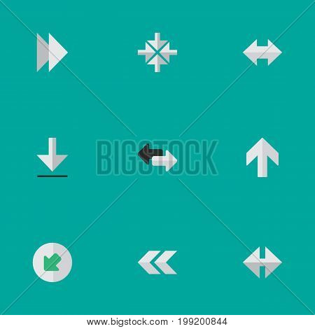 Elements Indicator, Forward, Inside And Other Synonyms Back, Export And Import.  Vector Illustration Set Of Simple Cursor Icons.