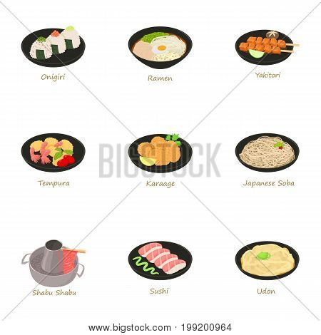 Japanese food icons set. Cartoon set of 9 japanese food vector icons for web isolated on white background