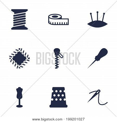 Collection Of Meter, Eyelet, Mannequin And Other Elements.  Set Of 9 Tailor Icons Set.