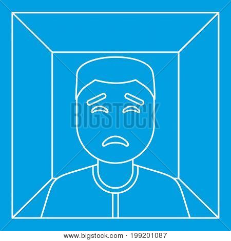 Man in a box icon blue outline style isolated vector illustration. Thin line sign