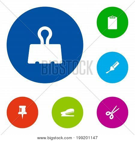 Collection Of Puncher, Pushpin, Highlighter And Other Elements.  Set Of 6 Tools Icons Set.