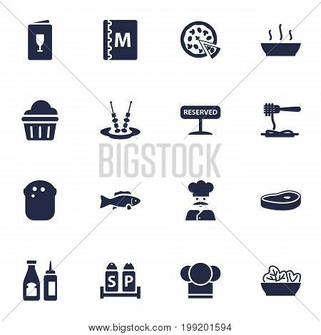 Collection Of Vermicelli, Cook, Registered And Other Elements.  Set Of 16 Restaurant Icons Set.
