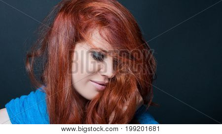 Smiling Female Model With Messy Hair