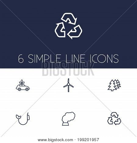 Collection Of Afforestation, Recycling, Ecol And Other Elements.  Set Of 6 Bio Outline Icons Set.