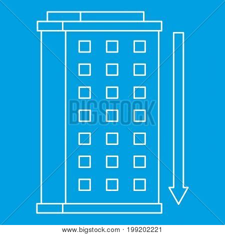 Building icon blue outline style isolated vector illustration. Thin line sign
