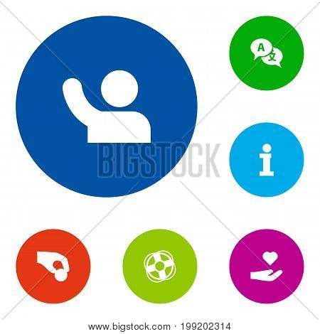 Collection Of Info, Ball, Undertake And Other Elements.  Set Of 6 Maintenance Icons Set.