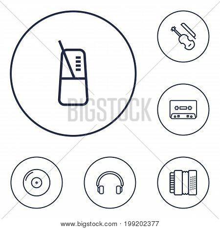 Collection Of Harmonica, Headphones, Record And Other Elements.  Set Of 6 Music Outline Icons Set.
