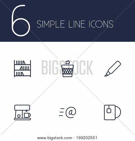 Collection Of Coffee Maker, Tea, Wastebasket And Other Elements.  Set Of 6 Office Outline Icons Set.