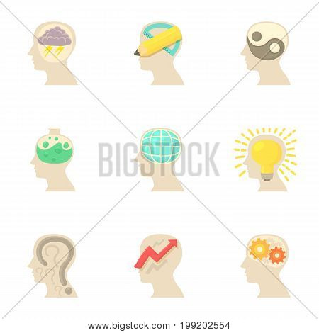 Thoughts inside man head icons set. Cartoon set of 9 thoughts inside man head vector icons for web isolated on white background