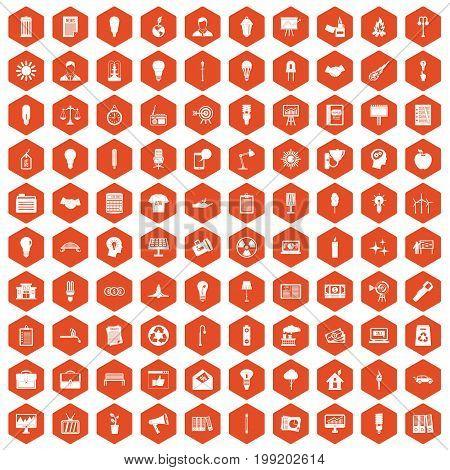 100 lamp icons set in orange hexagon isolated vector illustration