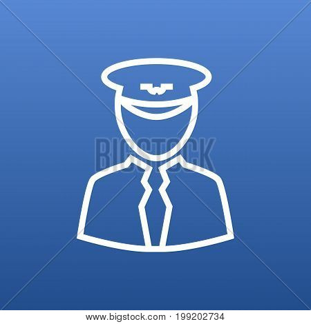Vector Pilot Element In Trendy Style.  Isolated Aviator Outline Symbol On Clean Background.