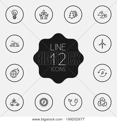 Collection Of Nature, Charge, Electricity And Other Elements.  Set Of 12 Ecology Outline Icons Set.