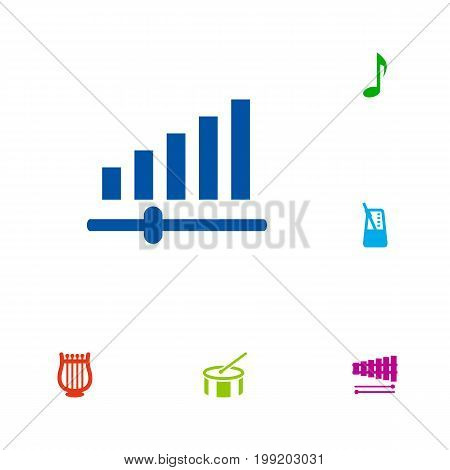 Collection Of Tambourine, Lyre, Tone Symbol And Other Elements.  Set Of 6 Music Icons Set.