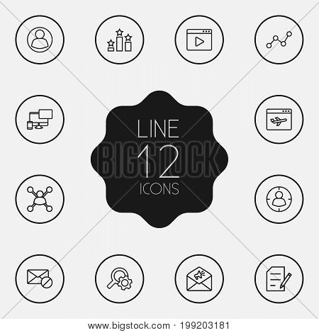 Collection Of Copyright, Block, Blogging And Other Elements.  Set Of 12 Optimization Outline Icons Set.