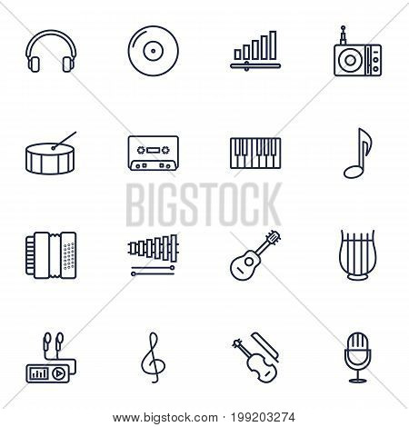 Collection Of Fortepiano, Amplifier, Audio Level And Other Elements.  Set Of 16 Song Outline Icons Set.