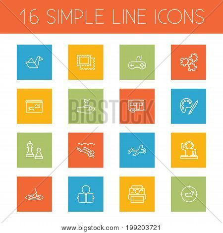 Collection Of Photography, Camping, Diving And Other Elements.  Set Of 16 Entertainment Outline Icons Set.