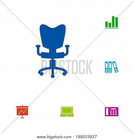 Collection Of Diagram, Office Chair, Laptop And Other Elements.  Set Of 6 Bureau Icons Set.