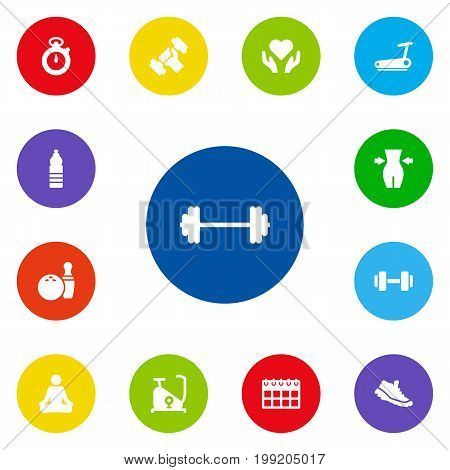 Collection Of Kegling, Meditate, Timer And Other Elements.  Set Of 13 Fitness Icons Set.