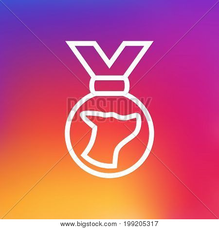 Vector Medal Element In Trendy Style.  Isolated Medallion Outline Symbol On Clean Background.