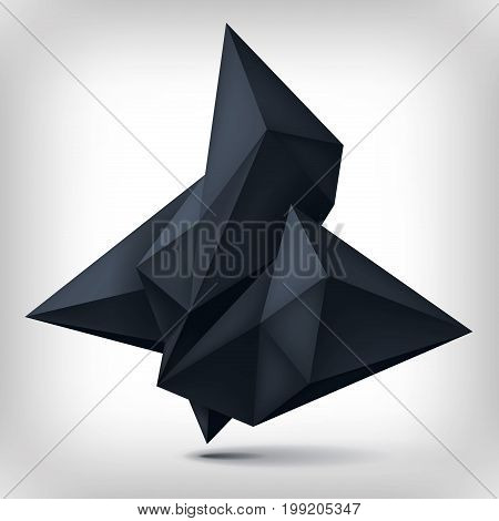 Volume origami geometric shape, 3d levitation black crystal, creative low polygons dark object, vector design form