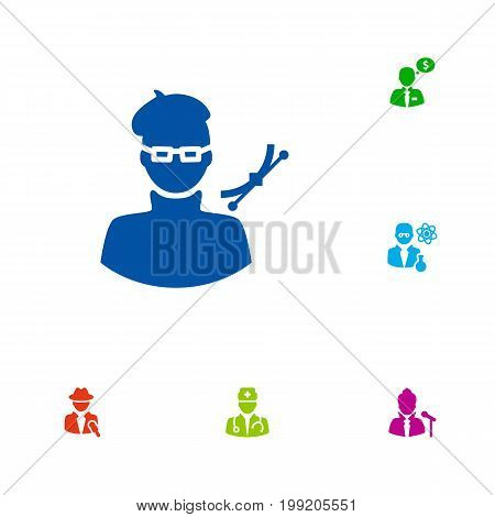 Collection Of Medic, Money Agent, Journalist And Other Elements.  Set Of 6 Job Icons Set.