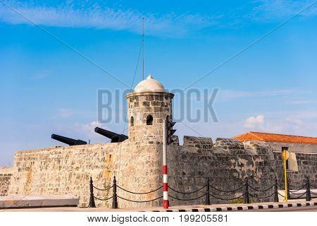 Castillo de San Salvador de la Punta Havana Cuba. Copy space for text