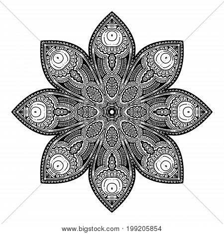 Outline Mandala for coloring book. Decorative round ornament. Anti-stress therapy pattern for adult. Weave design element. Yoga logo, background for meditation poster