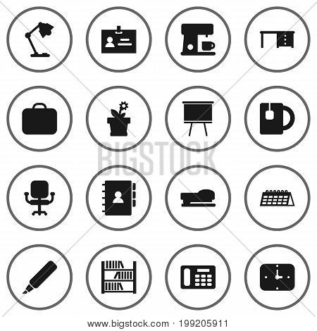 Collection Of Case, Book, Blackboard And Other Elements.  Set Of 16 Workspace Icons Set.