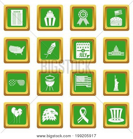 Independence day flag icons set in green color isolated vector illustration for web and any design