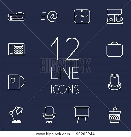 Collection Of Coffee Maker, Briefcase, Board Stand Elements.  Set Of 12 Workspace Outline Icons Set.