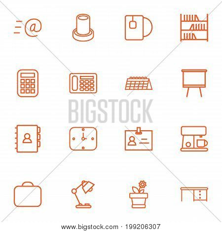 Collection Of Telephone, Email, Table Lamp And Other Elements.  Set Of 16 Workspace Outline Icons Set.