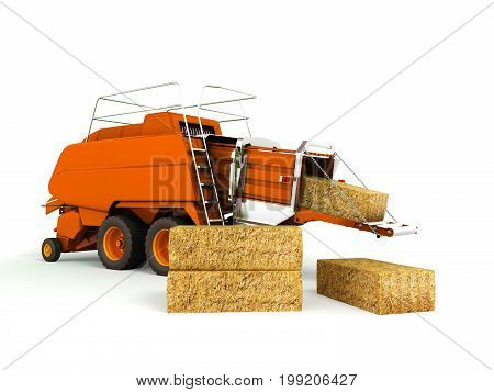 Press Baler Hay Bales Orange 3D Render On White Background No Shadow