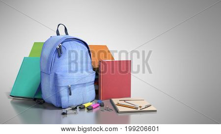 Blue Backpack With School Supplies 3D Render On Grey