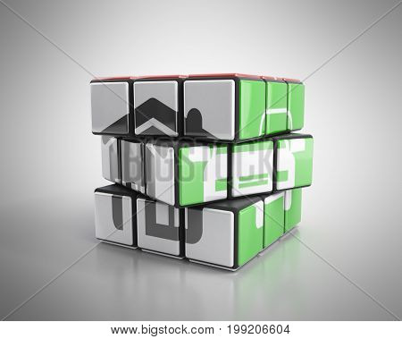 Concept Of A Deliberate Solution House And Car Painted On A Cube Of Rubik 3D Render On Grey