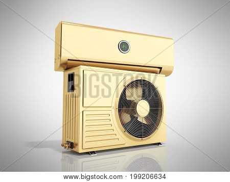 Gold Air Conditioning Unit 3D Render On Grey Background