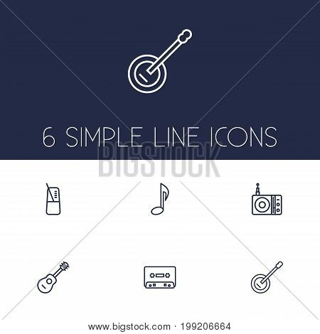 Collection Of Record, Musical Sign, Guitar And Other Elements.  Set Of 6 Melody Outline Icons Set.