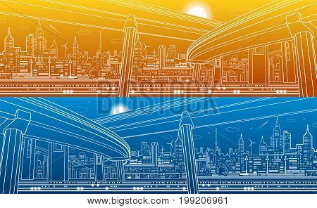 Transportation overpass bridge, urban infrastructure, modern city on background, vector design art, day and night
