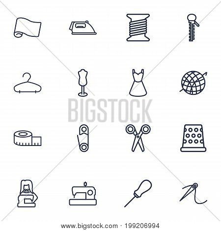Collection Of Tremble, Zipper, Hanger And Other Elements.  Set Of 16 Stitch Outline Icons Set.