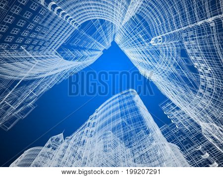 Abstract architecture background 3D illustration