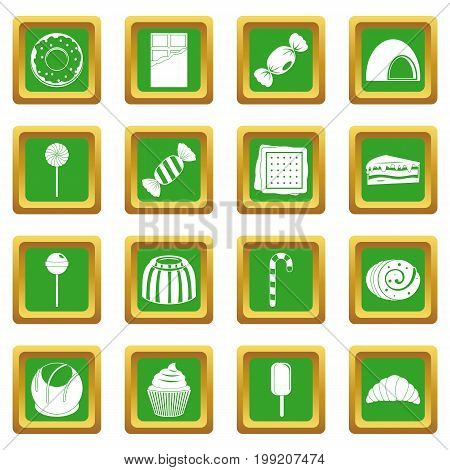 Sweets and candies icons set in green color isolated vector illustration for web and any design