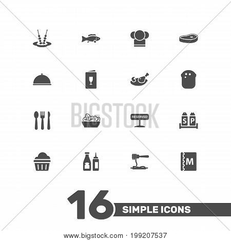 Collection Of Grill, Silverware, Sweet And Other Elements.  Set Of 16 Cafe Icons Set.