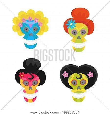 Set with colorful skulls for day of the dead. Sugar skulls for mexican day of the dead. Cute skulls and flowers in a cartoon style.