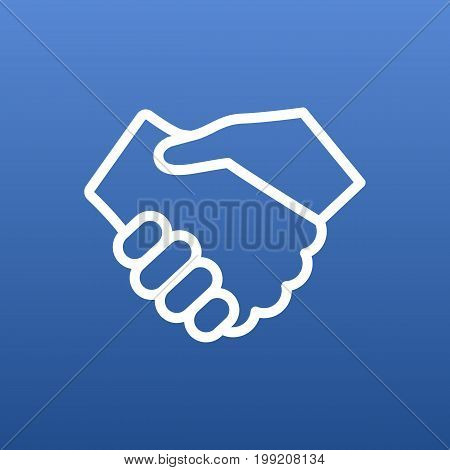 Vector Handshake Element In Trendy Style.  Isolated Partnership Outline Symbol On Clean Background.
