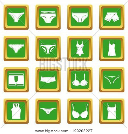 Underwear items icons set in green color isolated vector illustration for web and any design