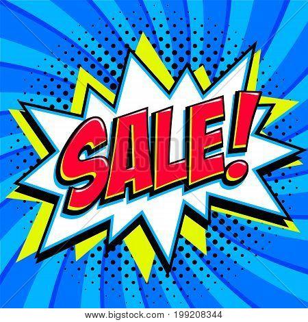 Blue sale web banner. Pop art comic sale discount promotion banner. Big sale background. Decorative background with bomb explosive. Comics pop-art style bang shape on blue twisted background. Ideal for web banners. Vector illustration.