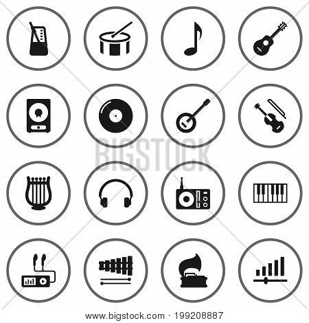 Collection Of Retro Disc, Banjo, Radio And Other Elements.  Set Of 16 Song Icons Set.